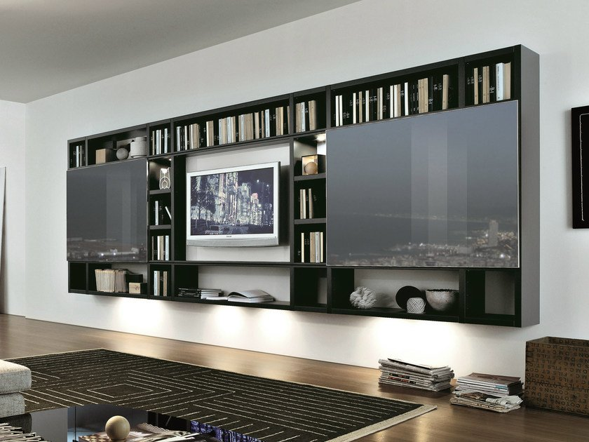 Sectional wall-mounted lacquered storage wall CROSSING | Wall-mounted storage wall by MisuraEmme