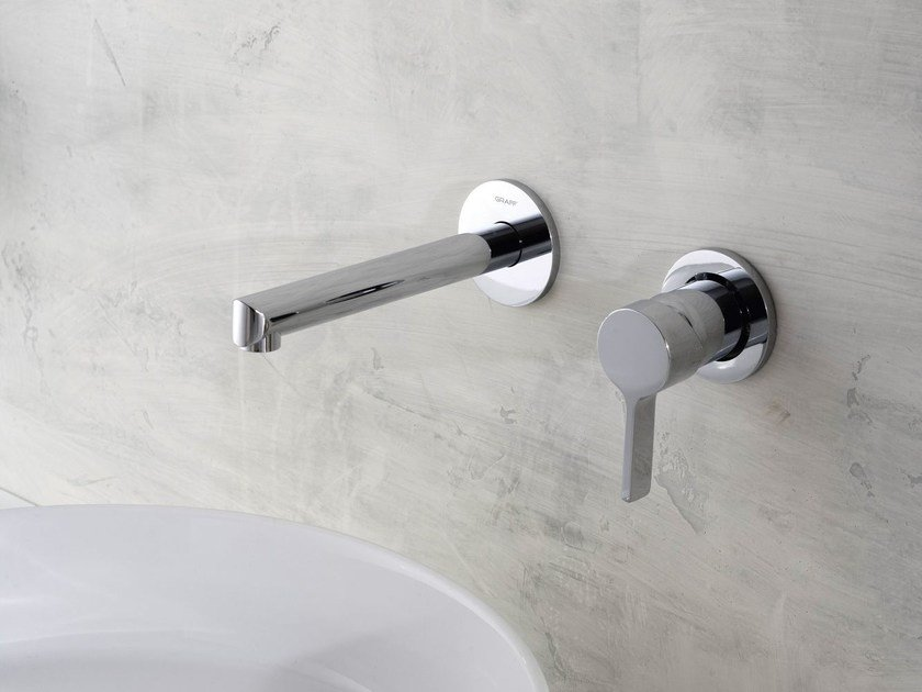 2 hole wall-mounted chrome-plated washbasin tap TERRA   Wall-mounted washbasin tap by Graff Europe West