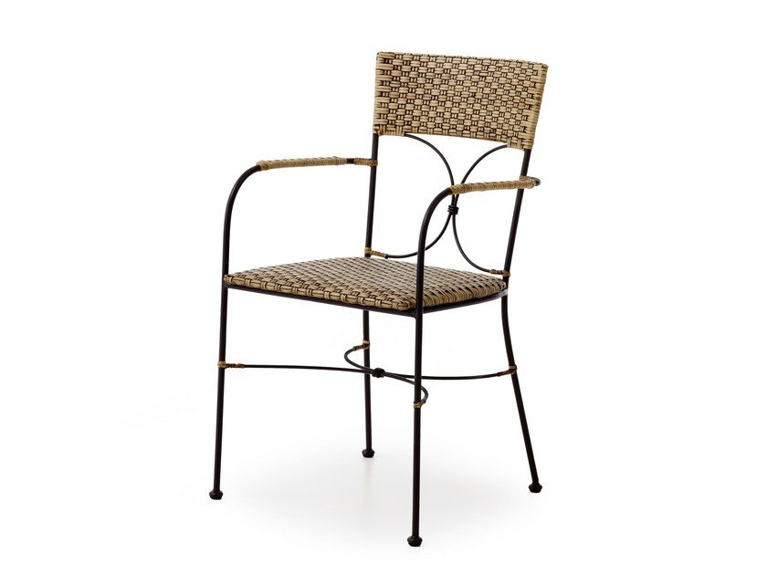 Woven wicker chair with armrests SHEFFIELD | Chair with armrests by Minacciolo