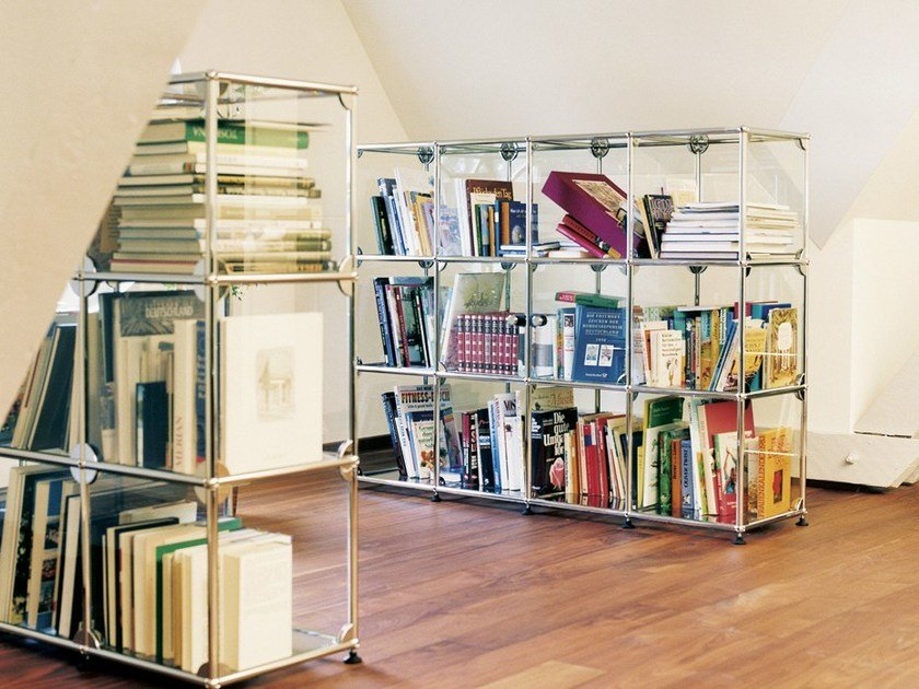 Sectional glass and steel bookcase USM HALLER GLAS SHELVING AND SHOWCASES | Bookcase by USM