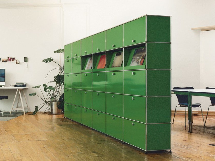 Tall modular metal office storage unit USM HALLER MODULAR OFFICE SHELVING | Office storage unit by USM