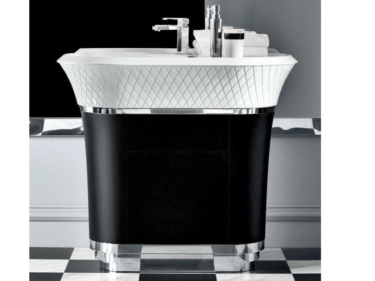 Freestanding Ceramilux® washbasin with integrated countertop GEORGE   Washbasin with integrated countertop by FALPER