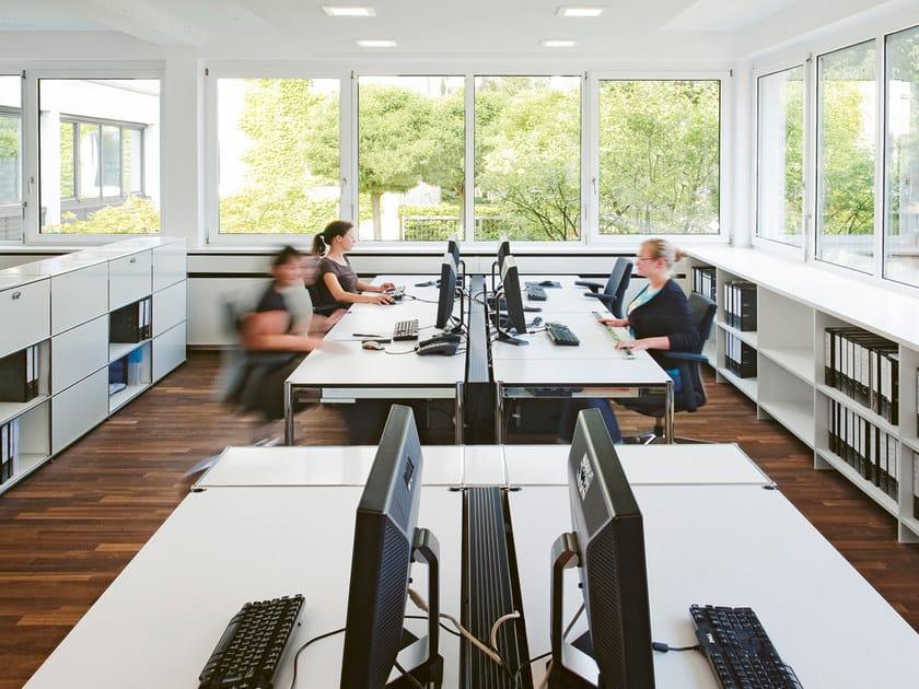 Rectangular laminate workstation desk USM HALLER TABLE FOR SHARED WORKSTATIONS | Office desk by USM