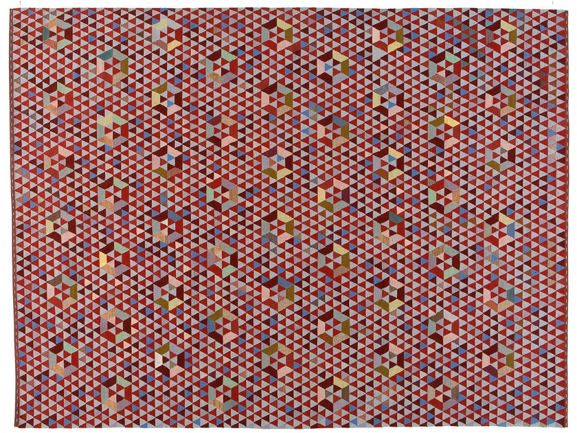 Rectangular rug with geometric shapes TRIANGLEHEX SWEET PINK by Golran