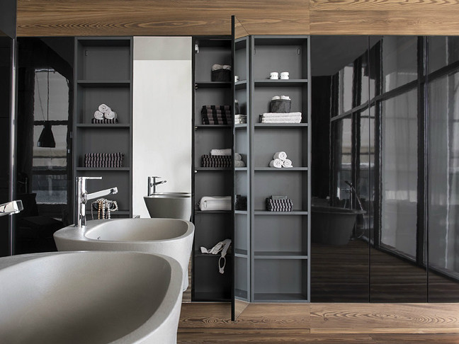 Open sectional bathroom cabinet with doors ATELIER VIA VENETO | Bathroom cabinet by FALPER