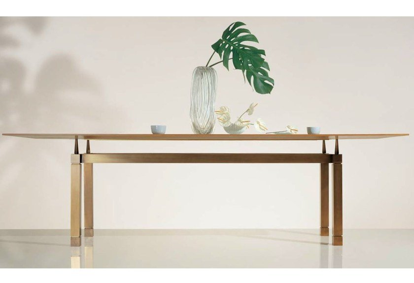 Wood and glass table SC1026 by OAK