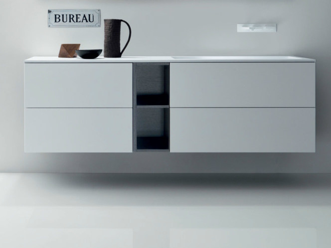 Lacquered wall-mounted wooden vanity unit with drawers VIA VENETO | Lacquered vanity unit by FALPER