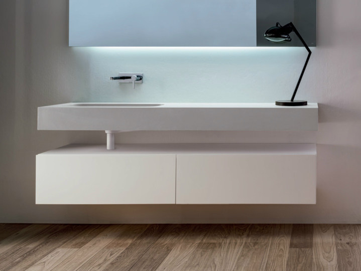 Lacquered wall-mounted wooden vanity unit with drawers VIA VENETO | Wall-mounted vanity unit by FALPER
