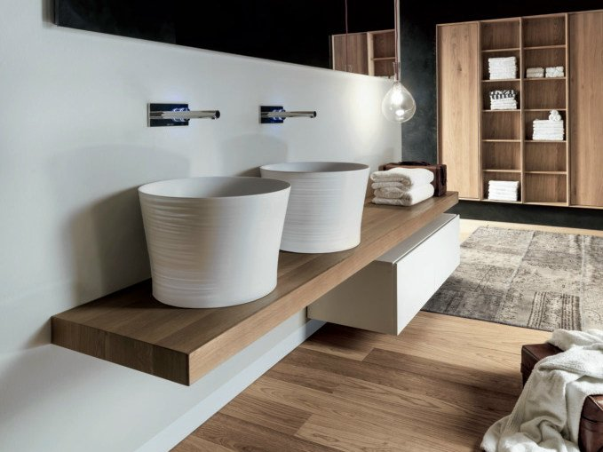 Lacquered wall-mounted wooden vanity unit with drawers VIA VENETO   Wooden vanity unit by FALPER