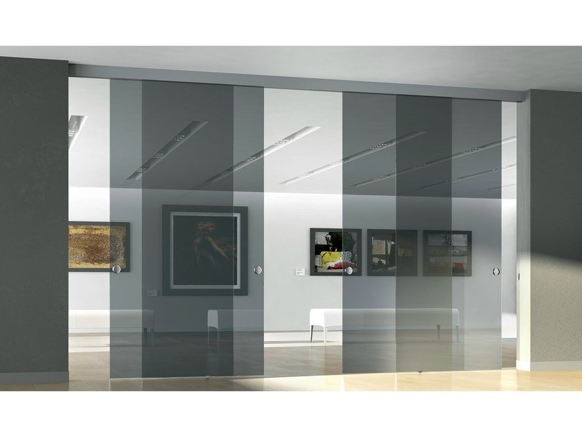 Decorated glass movable wall / Sliding door GAMMA POLVERE by Casali