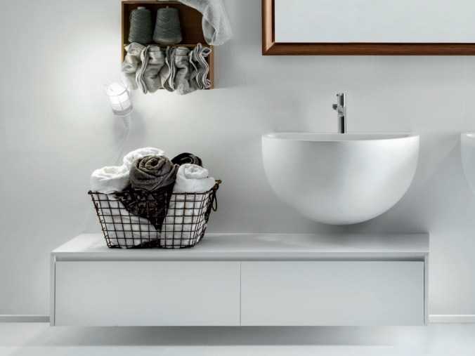 Lacquered wall-mounted wooden vanity unit with drawers VIA VENETO   Vanity unit with drawers by FALPER