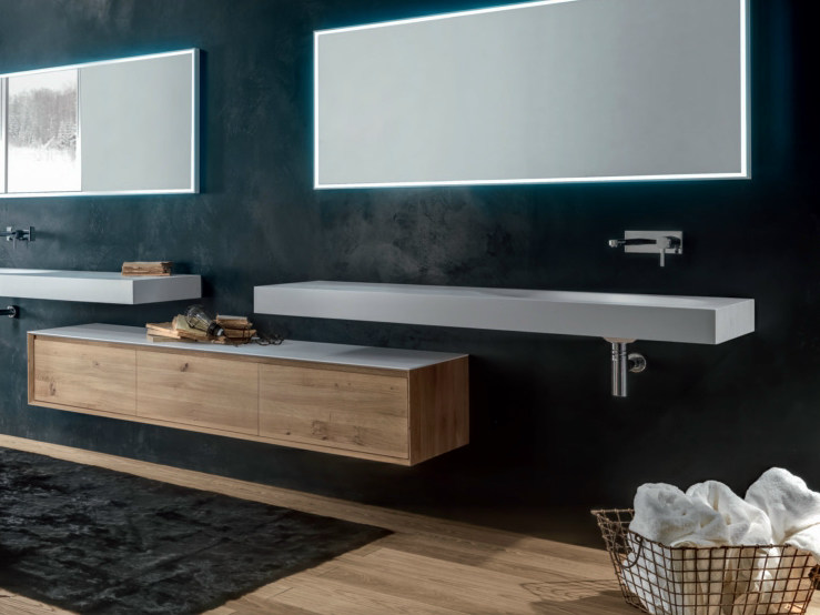 Suspended wooden bathroom cabinet with drawers SHAPE EVO | Suspended bathroom cabinet by FALPER