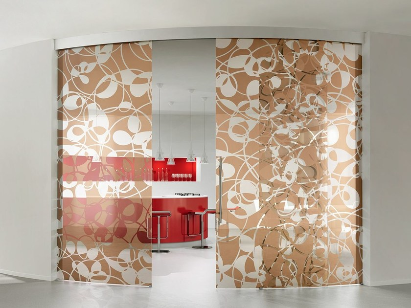 Decorated Glass Movable Wall / Sliding Door BETA FLY By Casali