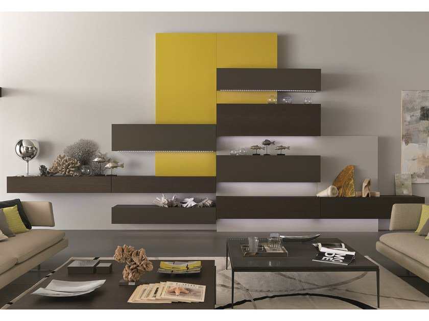 Sectional wall-mounted lacquered wooden storage wall TAO10 | Sectional storage wall by MisuraEmme