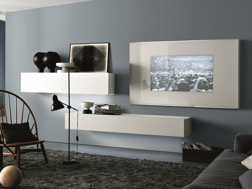 Sectional wall-mounted lacquered wooden storage wall TAO10 | Lacquered storage wall by MisuraEmme