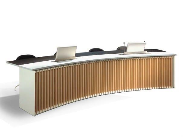 Modular wooden meeting table DEMIMUR by JOSE MARTINEZ MEDINA