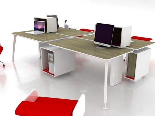 Contemporary style sectional rectangular workstation desk COMPANY MULTIOPERATIVE by JOSE MARTINEZ MEDINA