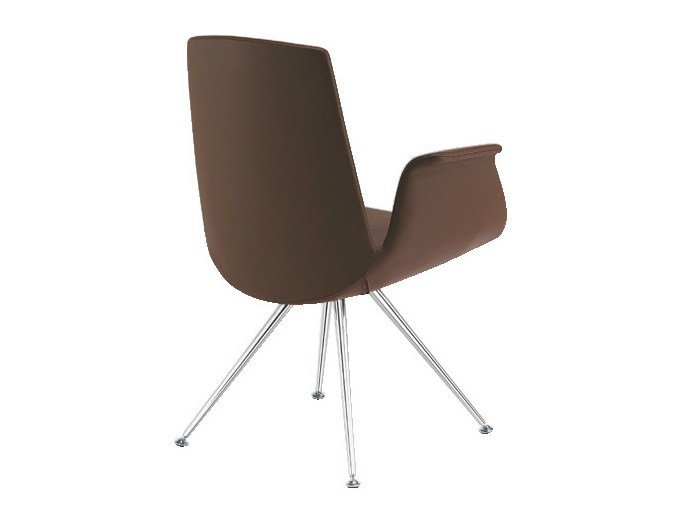 Leather easy chair with armrests MODÀ | Easy chair by Sesta