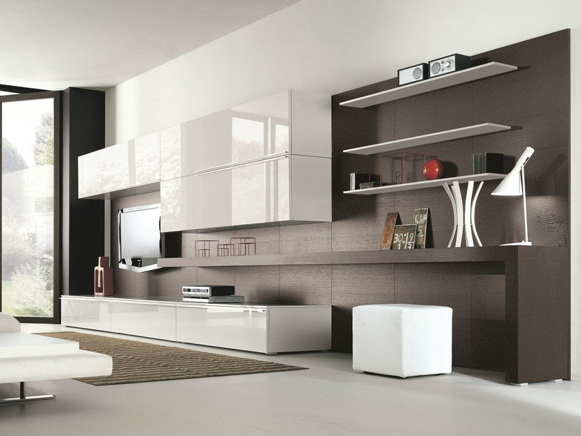 Mobili Contenitori Soggiorno Ikea : Parete attrezzata componibile fissata a muro laccata in