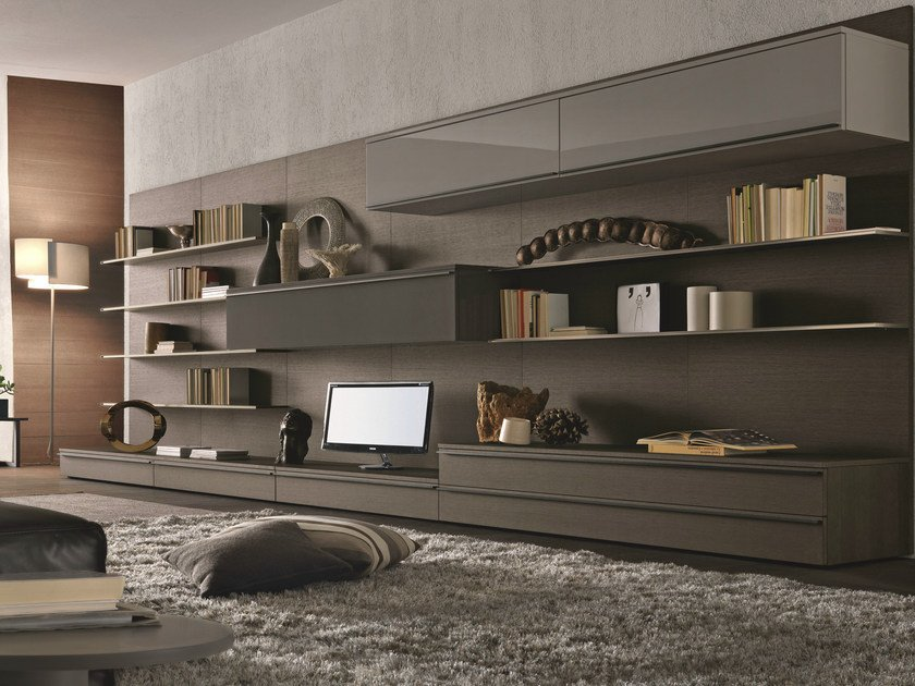 Sectional wall-mounted lacquered wooden storage wall TAO DAY | Sectional storage wall by MisuraEmme