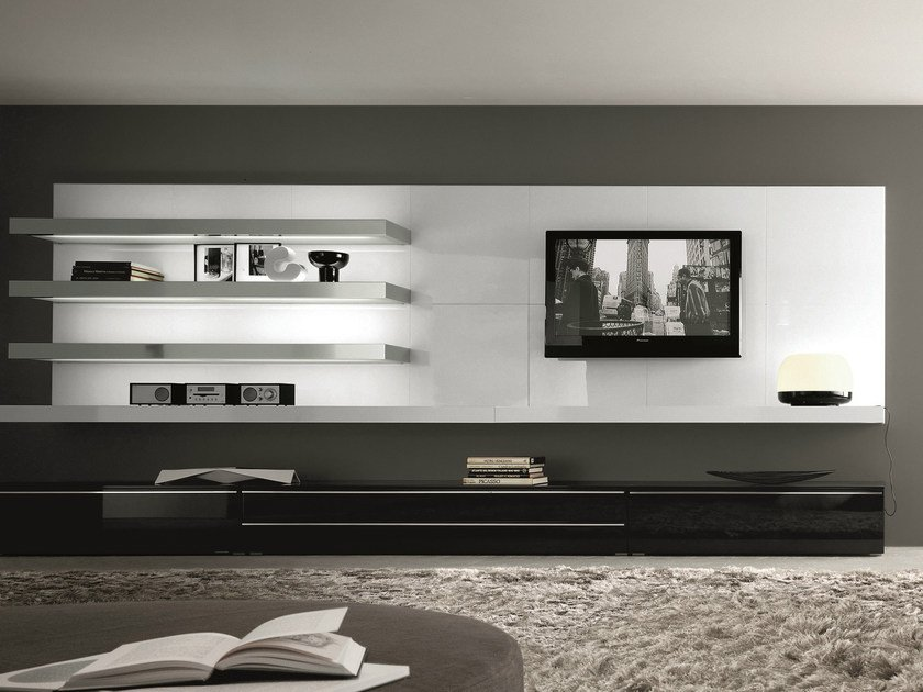 Sectional wall-mounted lacquered wooden storage wall TAO DAY | Wall-mounted storage wall by MisuraEmme
