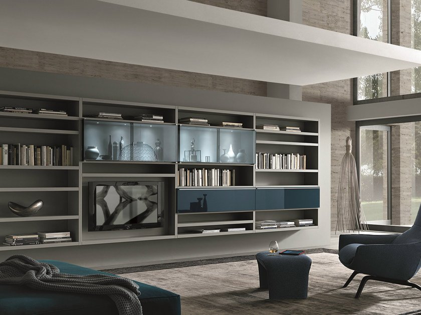 Sectional wall-mounted lacquered storage wall CROSSING TEKA | Storage wall by MisuraEmme