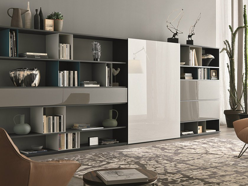 Sectional lacquered storage wall URBAN | Lacquered storage wall by MisuraEmme