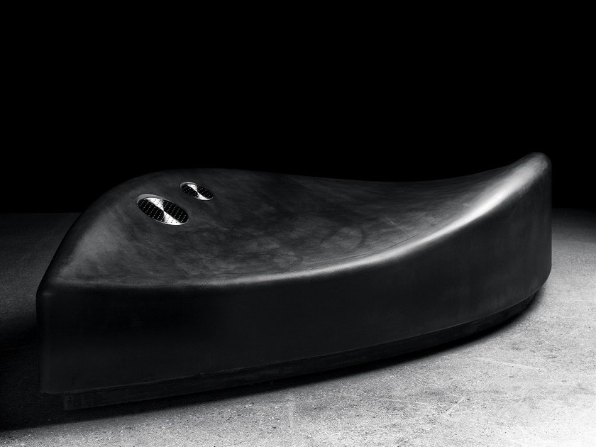 Curved backless GRC Bench WAVER by Concrete Rudolph
