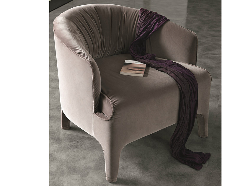 Upholstered fabric armchair with armrests OPERA | Fabric armchair by MisuraEmme