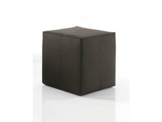 Upholstered leather pouf BADU by Bontempi