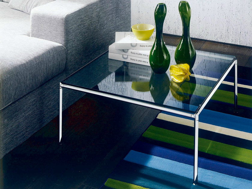 Crystal coffee table for living room DIAGONAL | Square coffee table by Bontempi