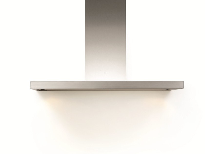 Contemporary style wall-mounted stainless steel cooker hood with integrated lighting 7610 FLAT'LINE by NOVY