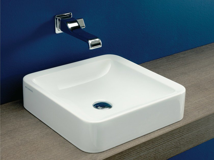Design countertop square ceramic washbasin NILE 40 | Countertop washbasin by CERAMICA FLAMINIA