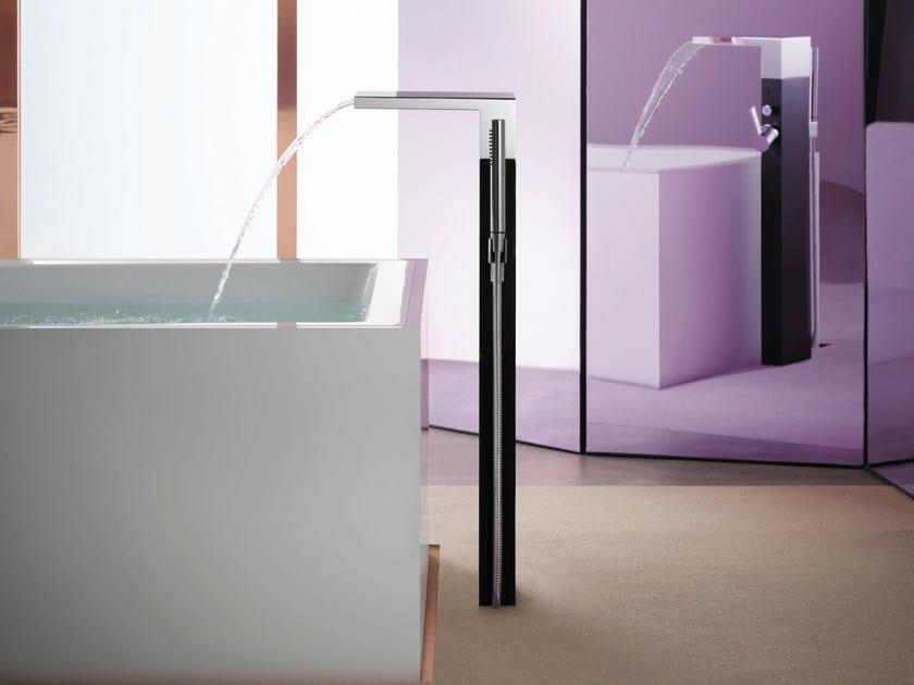 Floor standing waterfall bathroom tap with hand shower MEM   Floor standing bathtub tap by Dornbracht