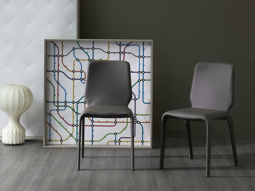 Upholstered leather chair JUNAN by Bonaldo