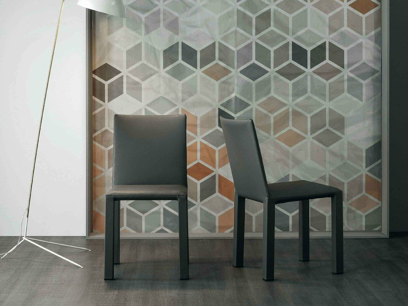 Upholstered leather chair KUVA by Bonaldo