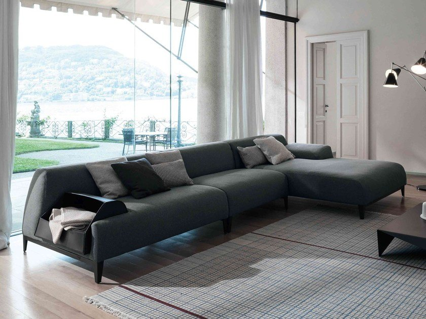 Corner sectional sofa with chaise longue CAVE | Sofa with chaise longue by Bonaldo