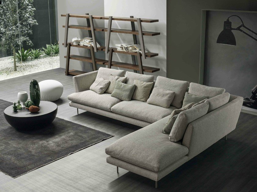 Corner sofa with removable cover with chaise longue LARS | Sofa with chaise longue by Bonaldo