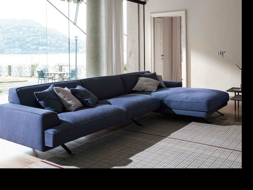 Corner sofa with removable cover with chaise longue SLAB | Sofa with chaise longue by Bonaldo