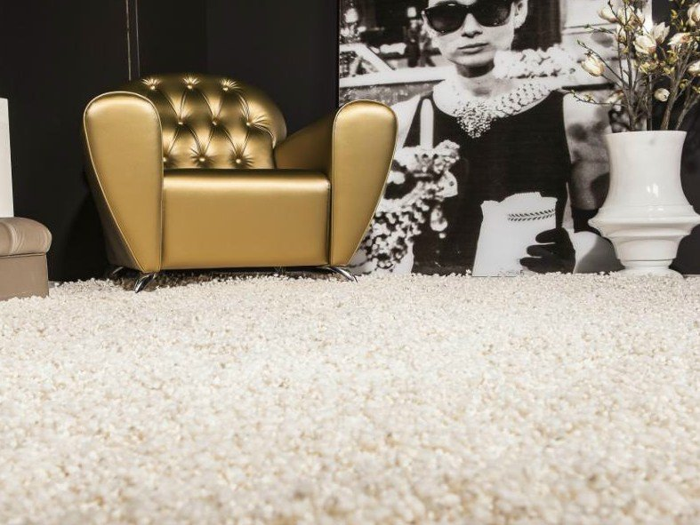 Handmade rectangular wool rug POPCORN CARPETS by EBRU