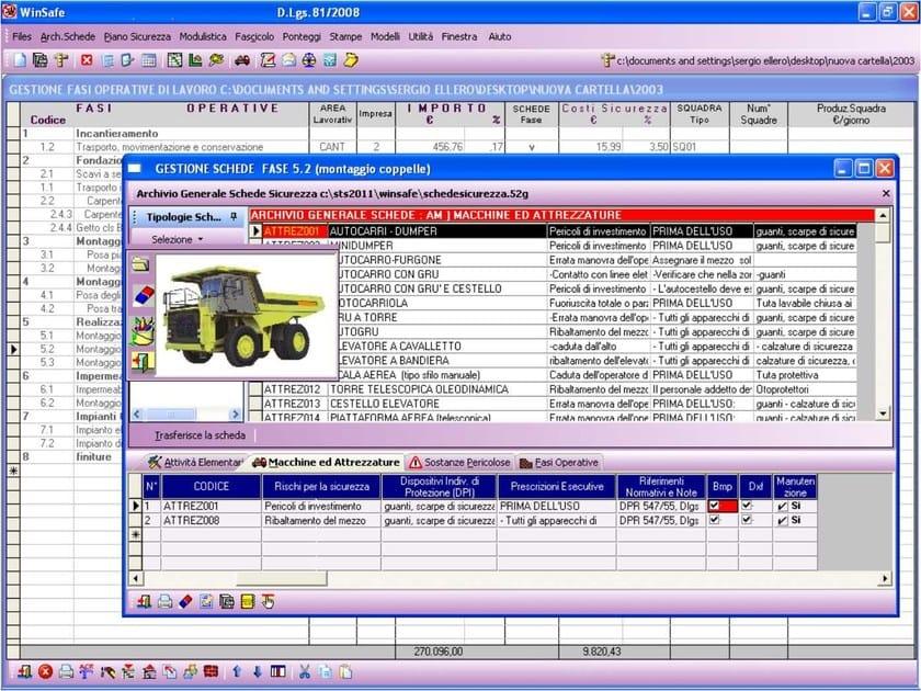WinSAFE Associazione schede di sicurezza alle fasi operative