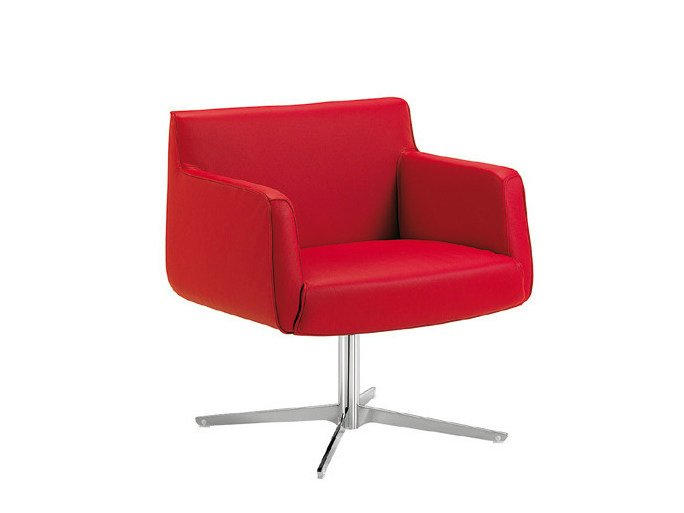 Swivel easy chair with armrests ADA 4 | Easy chair with 4-spoke base by Sesta