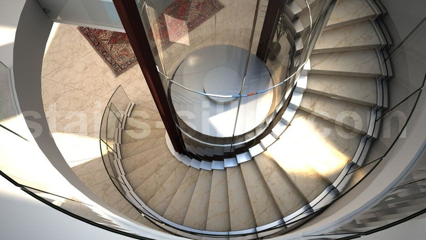 Helical glass and steel Spiral staircase COBRA | Helical Spiral staircase by Siller Treppen