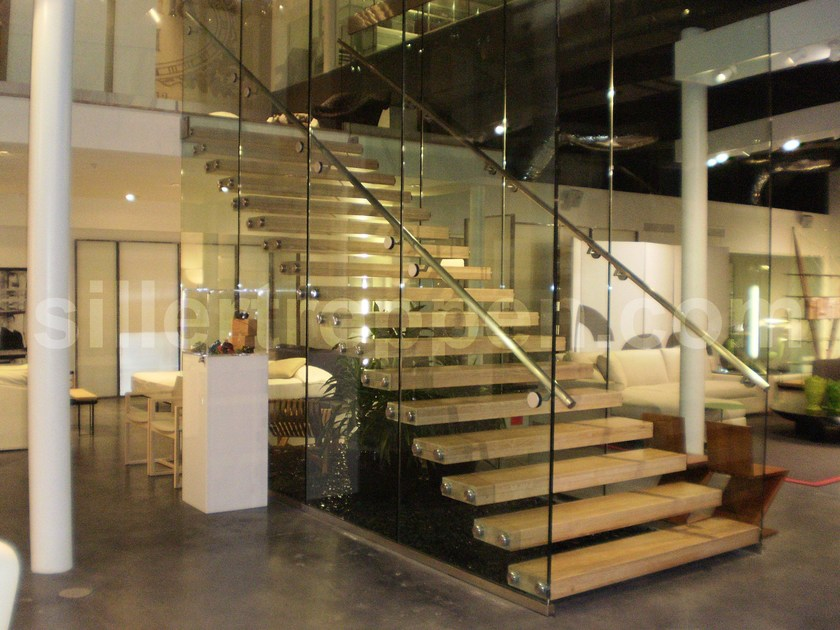 Wood And Glass Open Staircase With Lateral Stringers MISTRAL COMMERCIAL |  Wood And Glass Open Staircase