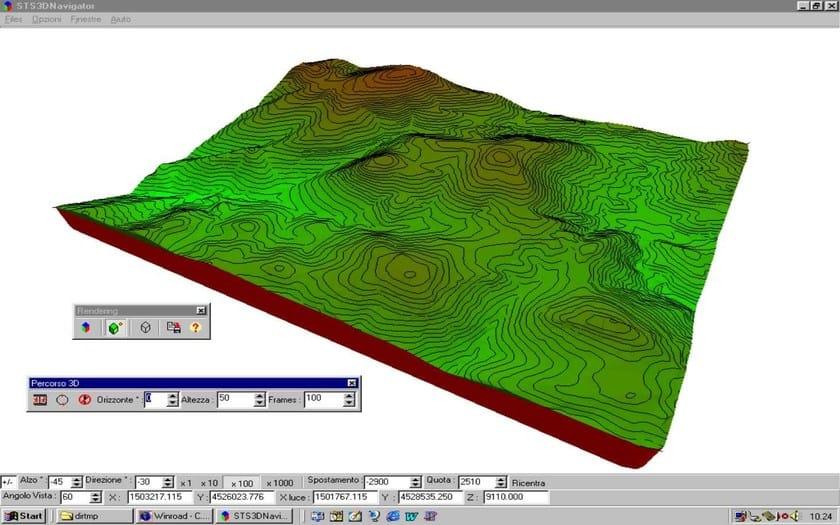 WinROAD Rendering del modello tridimensionale del terreno