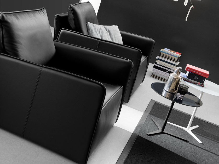 Contemporary style upholstered armchair ANTARES | Leather armchair by Bontempi