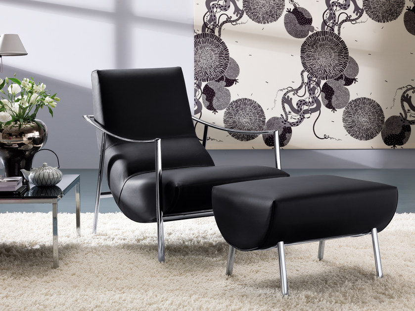 Armchair with footstool ATUL | Leather armchair by Bontempi
