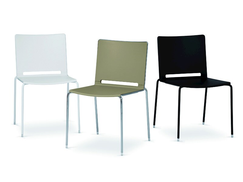 Chair 4 legs FILÒ PLASTIC | Stackable chair by Diemmebi
