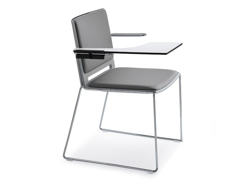 Sled base chair with armrests LAFILÒ SOFT | Training chair with writing tablet by Diemmebi