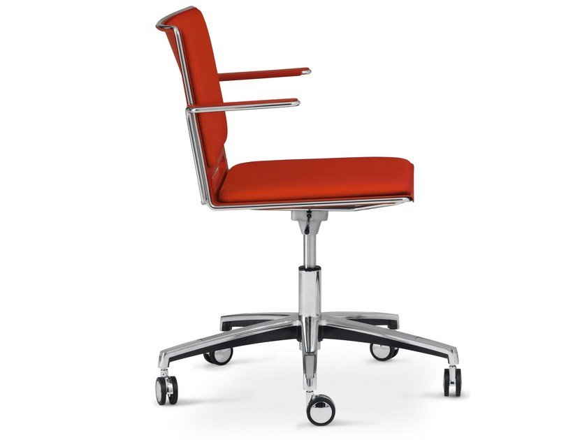 Office chair with 5-Spoke base with armrests LAFILÒ SOFT TASK | Chair with armrests by Diemmebi